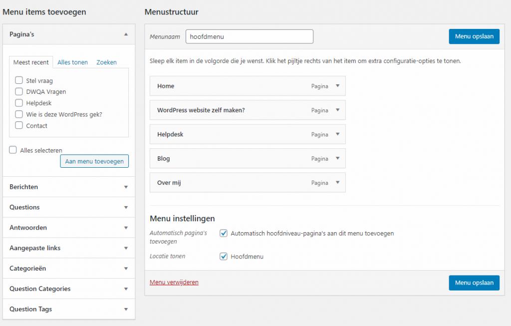 menu instellen wordpress