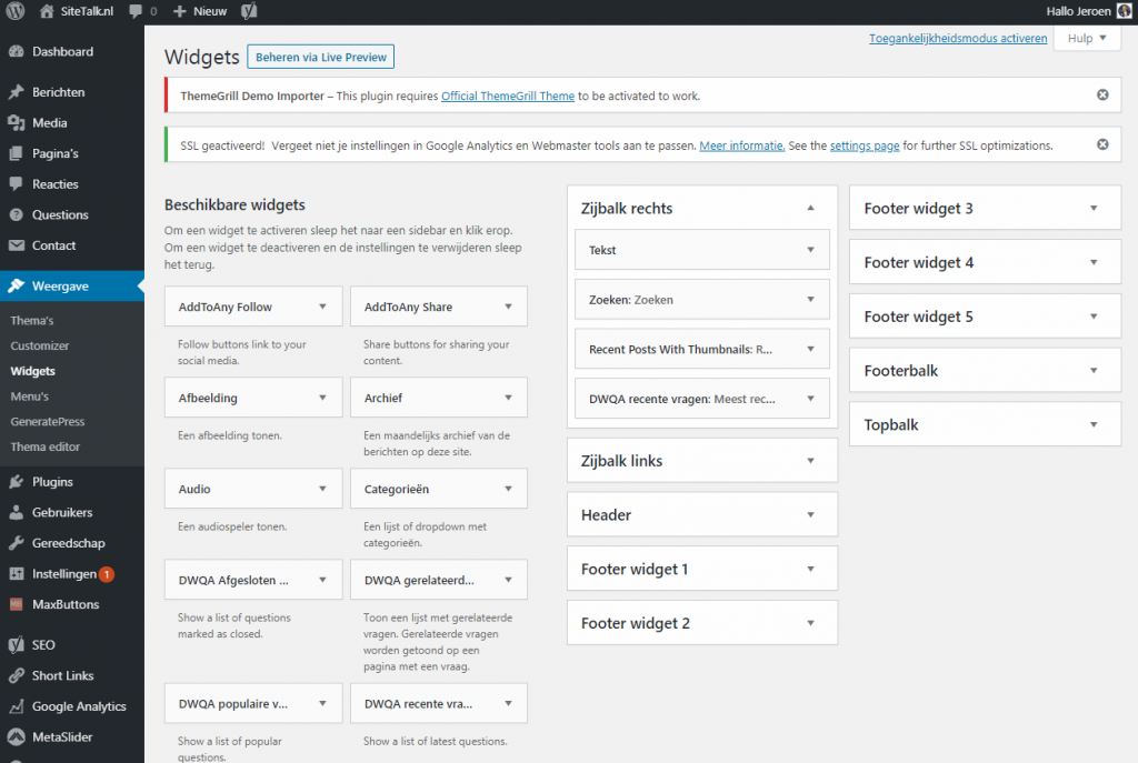 widgets instellen wordpress