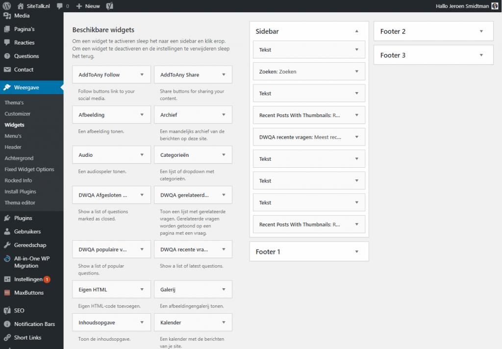 Wordpress wat zijn widgets